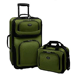 US Traveler Rio Two Piece Expandable Carry-On Luggage Set, Green