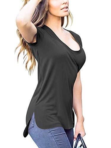 Florboom Casual Soft T Shirt Cotton Tshirts Basic Tee Shirts for Women Black XL -