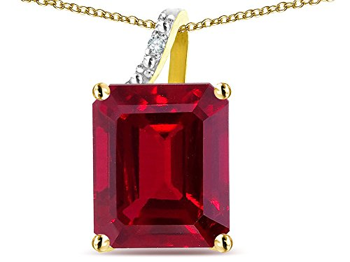 Star K Large 10x8 Octagon Emerald Cut Created Ruby Pendant Necklace 14 kt Yellow Gold