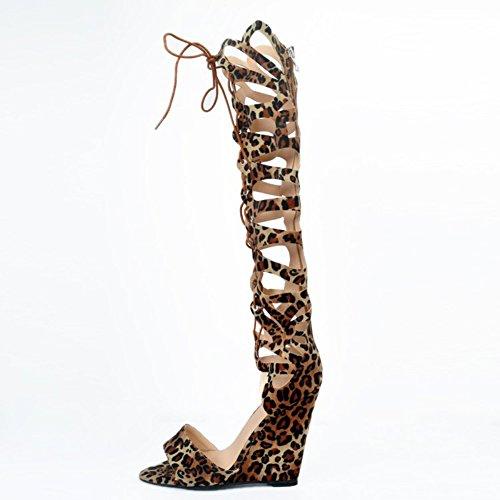 Kolnoo Womens 10cm Wadge Heel Knee High Lace-up Summer Sandals Party Prom Shoes Leopard oztxeY5jA