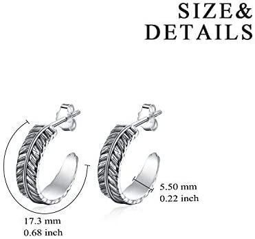 VONALA Feather Hoop Earrings 925 Sterling Silver Vintage Oxidized Hoop Feather Jewellery Gifts for Women 17mm