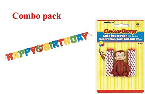 Curious George Cake Decoration - Curious George Cake Topper & Birthday Candle Set and Happy Birthday Banner (combo pack)