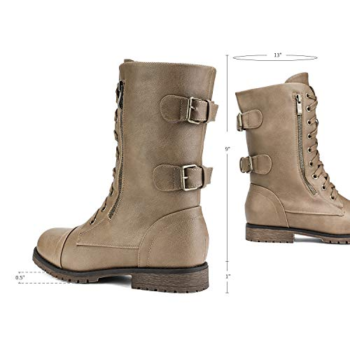 DREAM PAIRS Womens Terran Mid Calf Built-in Wallet Pocket Combat Boots