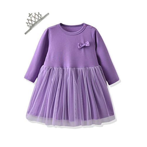 So Smart Baby Girls Clothes Suit Long Sleeve Princess Dresses and Crown Hair Bands 2PCS Outfits Set (110 (3T), Purple) for $<!--$15.99-->