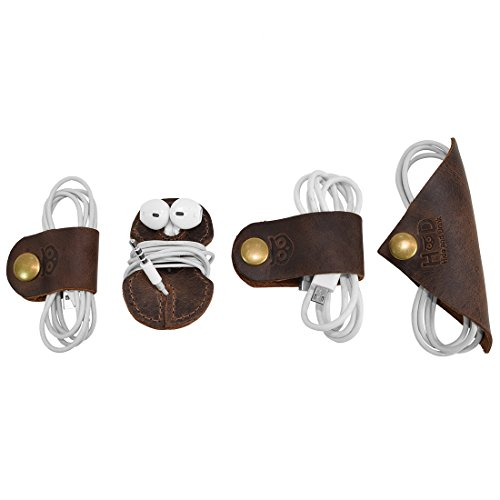 Rustic Cord Keeper (Cord Clam) 4-Pack Handmade by Hide & Drink :: Bourbon Brown by Hide & Drink