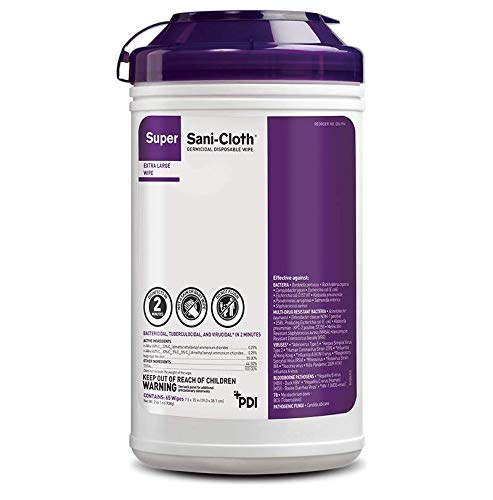 Super Sani-Cloth Extra-Large Wipes (8'' x 14''), Case of 6 Canisters - Q86984 by PDI