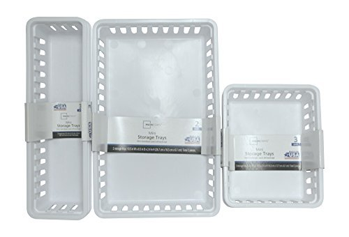 Mini Storage Trays Bin Bundle- Basic Square 3pk, Slim Plastic Storage Trays Basket 3pks, Rectangular 2pk -White (Bundle Squares)