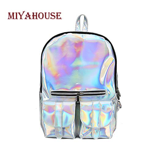 Amazon.com: Fashion Laser Backpacks Women European Style Travel Bags Female Bright Zipper High Capacity School Bag: Kitchen & Dining