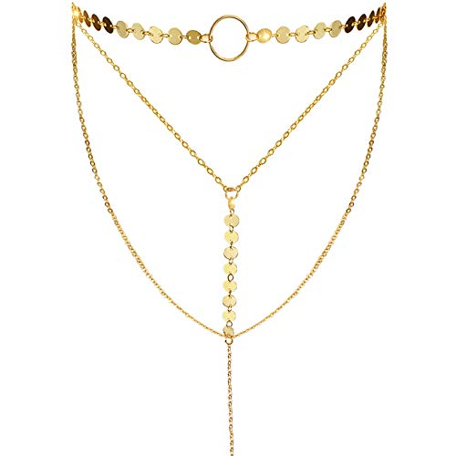 - Suyi Stylish Layered Sequins Choker Necklace with Thin Long Chain Pendant for Women Lady Girl A-Gold
