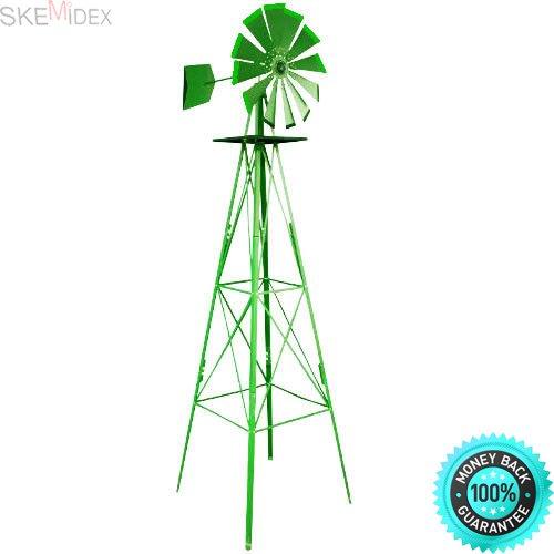 (SKEMIDEX-8FT Green Metal Windmill Yard Garden Decoration Weather Rust Resistant Wind Mill And garden windmills metal decorative backyard windmill kinetic wind spinners ornamental windmills)