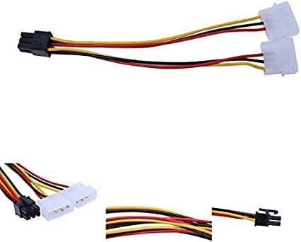 ShineBear 10PCS Molex 4 Pin to PCI-E PCI Expess 6 Pin Power Converter Adapter Cable Connector Power Supply Cable Length: 18cm