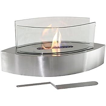 Sunnydaze Barco Ventless Tabletop Bio Ethanol Fireplace, Stainless Steel