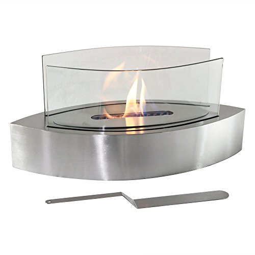 Sunnydaze Barco Tabletop Fireplace, Indoor Ventless Bio Ethanol Fire Pit, Long Lasting Burn Time, Stainless Steel