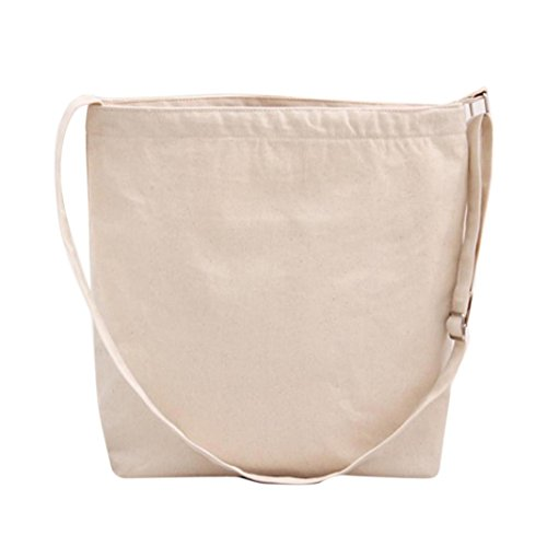Mosunx(TM) Fashion Women Canvas Shopping Handbag Shoulder Tote Shopper Crossbody Bag (Beige)