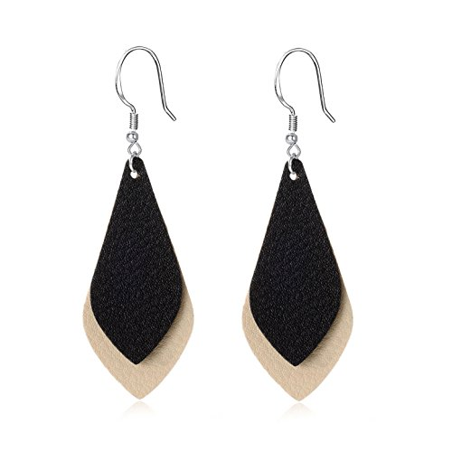 Unique Leather (Layered Leather Earrings Handcrafted Unique Geometric Jewelry for Women Girls)