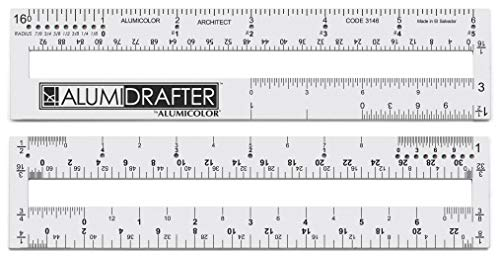 Alumicolor 3146-1 AlumiDrafter Architect Drafting Tool, 6IN, Silver