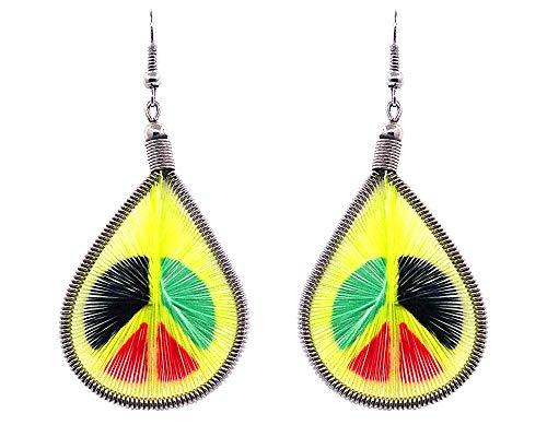 Mia Jewel Shop Peace Sign Symbol Graphic Teardrop Thread Dangle Earrings -