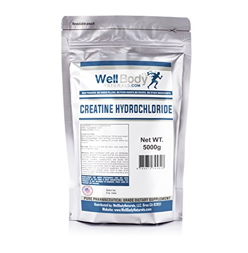 WellBodyNaturals Creatine Hydrochloride (HCL) Powder 5 Kilograms by Well Body Naturals