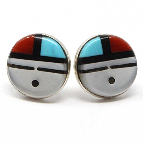 Inlay Native American Indian (Zuni Multi Color Inlay Earring by Boone 3/8