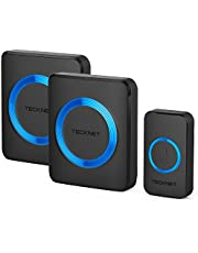 TECKNET Wireless Doorbell, Waterproof Twin Wall Plug-in Cordless Door Chime Kit With 300m Range, 52 Chimes, 4-Level Volume & Blue Light, No Batteries Required Best for Plug in Door Entry Bell
