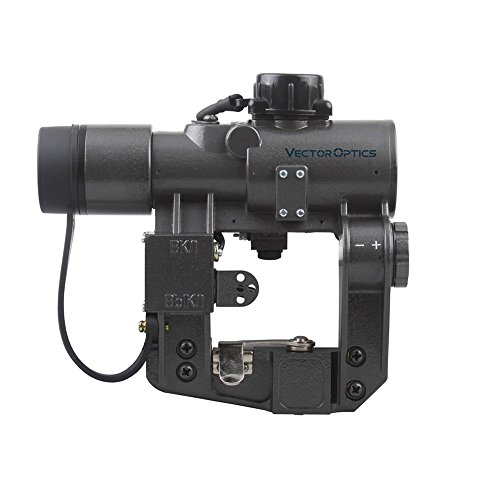 Vector Optics SVD Dragunov 1x28mm Tactical Red Dot Scope Sight with AK Side Picatinny Rail Mount for AK 47, AK 74, Any AK Variants (Matte Black)