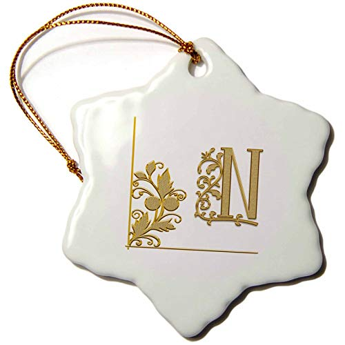 3dRose Alexis Design - Monogram Yellow Ornament - Elegant Yellow Floral Ornament Monogram. Radiant Initial N - 3 inch Snowflake Porcelain Ornament (ORN_300012_1)