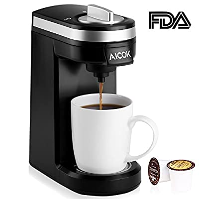 Aicok Single Serve Coffee Maker, Coffee Machine for Most single cup pods, including K-Cup pods, Travel One Cup Coffee Brewer