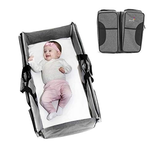 Primo Passi Nido 3 in 1 Premium Portable Diaper Bag Travel Bassinet and Change Station (Grey)