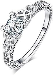 JewelryPalace Infinity Anel de noivado solitário de zircônia cúbica corte princesa nó celta prata esterlina 92