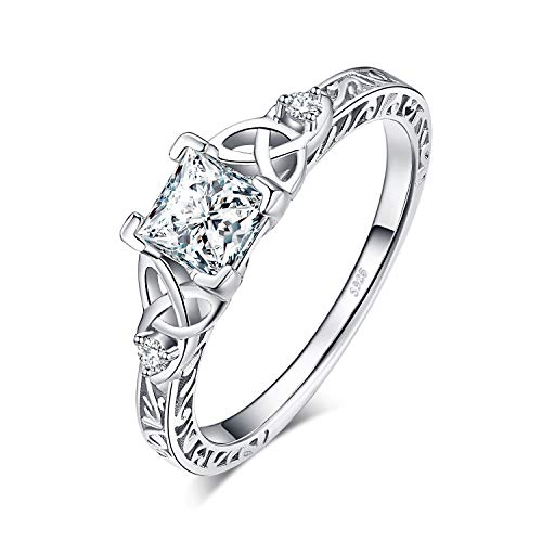 Sterling Silver Engagement Anniversary Ring - JewelryPalace Infinity Celtic Knot Princess Cut Cubic Zirconia Solitaire Engagement Ring 925 Sterling Silver (Vintage Engagement Ring, 8.5)
