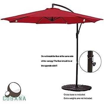 COBANA 10u0027 Offset Hanging Patio Umbrella Freestanding Outdoor Parasol  Adjustable Umbrella, 250g/sqm