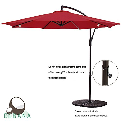 COBANA 10' Offset Hanging Patio Umbrella Freestanding Outdoor Parasol Adjustable Umbrella, 250g/sqm Polyester, Red