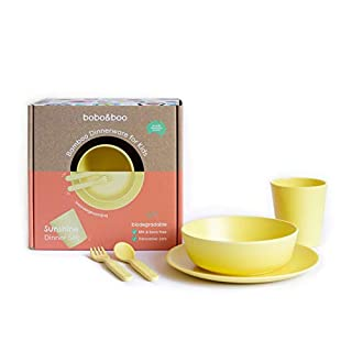 Bobo&Boo Bamboo 5 Piece Children's Dinnerware, Sunshine Yellow, Non Toxic & Eco Friendly Kids Mealtime Set for Healthy Infant Feeding, Great Gift for Birthdays, Christmas & Preschool Graduations