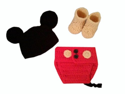 Jastore Photography Prop Baby Costume Cute Crochet Knitted Hat Cap Girl Boy Diaper Shoes Mouse by Jastore (Image #2)