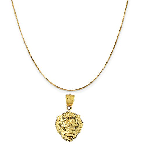 14k Yellow Gold Lion Head Pendant on a 14K Yellow Gold Curb Chain Necklace, 16'' by Eaton Creek Collection