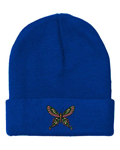 Beanie Butterfly Embroidered - Oriental Butterfly Embroidered Unisex Adult Acrylic Beanie Winter Hat - Royal Blue, One Size
