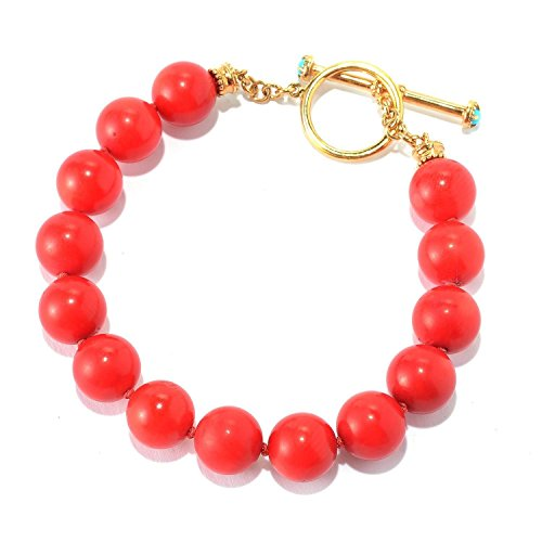 Michael Valitutti Palladium Silver Etruscan Collection Red Bamboo Coral & Sleeping Beauty Turquoise Beaded Toggle Bracelet