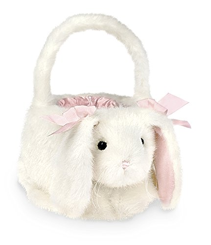 "Bearington Plush Bunny Rabbit Kids Easter Egg Basket, White 12"" x 13"""