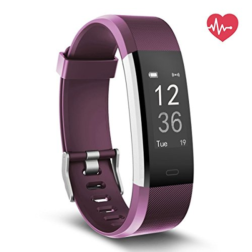 Fitness Tracker - NewYouDirect Heart Rate Monitor Pedometer Activity Tracker Smart Watch Smart WristBand with Sleep Monitor Calorie Step Counter Bluetooth 4.0 for Android IOS(Purple)