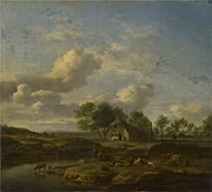 'Adriaen van de Velde - A Landscape with a Farm by a Stream,1661' oil painting, 18x20 inch / 46x50 cm ,printed on Cotton Canvas ,this High Resolution Art Decorative Canvas Prints is perfectly suitalbe for Garage artwork and Home artwork and Gifts