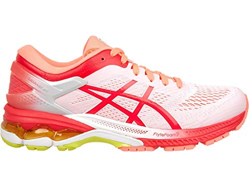 ASICS Women's Gel-Kayano 26 Kai Running Shoes 1011A636, 8M, White/Laser Pink