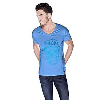 Creo Light Blue Coco Skull T-Shirt For Men - L, Blue