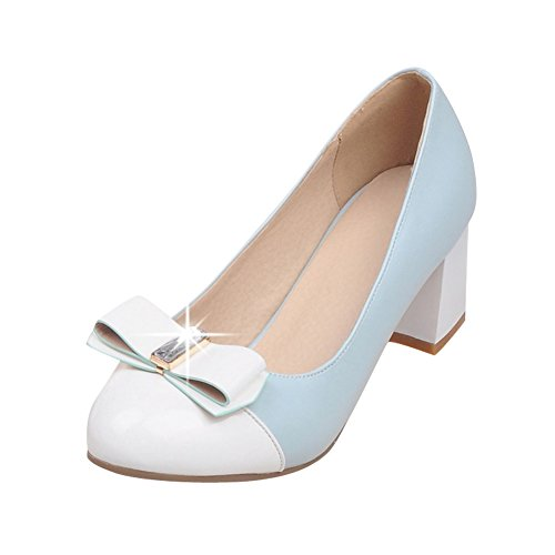 Latasa Womens Cute Two Toned Bow Mid Chunky Heels Pumps blue ( main color ) vMKUsGls