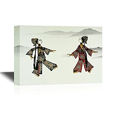 Chinese Culture Canvas Wall Art - Chinese Shadow Puppetry - Gallery Wrap Modern Home Art   Ready to Hang - 12x18 inches