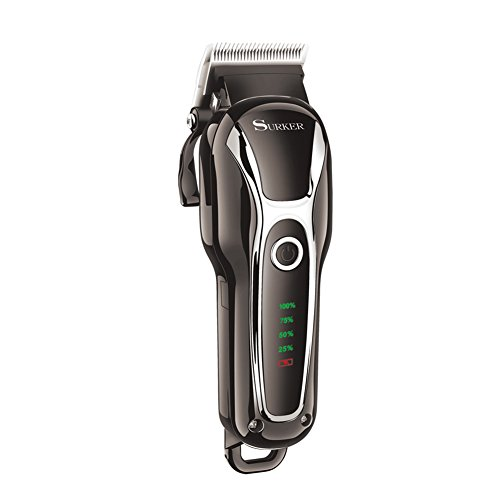 SURKER Hair Clippers For men Head Shaver Beard Trimmer Rechargeable Barber Professional Clippers Corded&Cordless Haircut Kit Black (Professional Barber Clippers Kit)