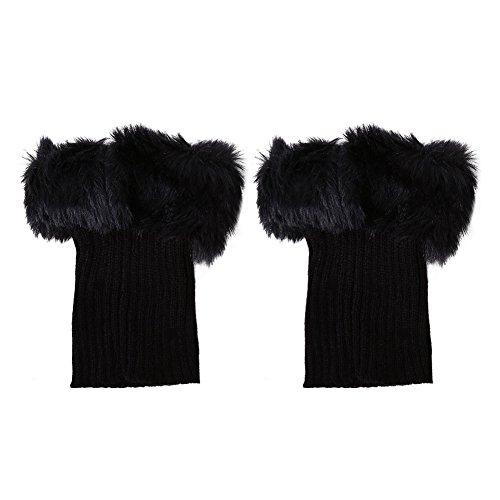 アクセスのど尽きるレッグウォーマー 冬暖かい脚の袖スリーブふわふわの熱い編み上げの足首の暖かい 防寒  冷え取り