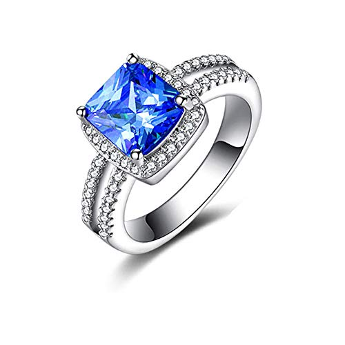 Cushion Tourmaline Earrings - Haluoo Women's Ring, 925 Sterling Silver Plated Simulated Diamond Engagement Ring Cushion Cubic Zirconia Promise Halo Solitaire Promise Wedding Bands for Lady Girls (9, Blue)