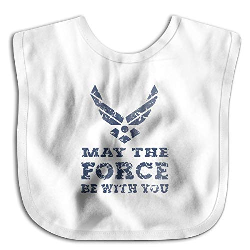 U.S. AIR Force USAF May The Force BE White Customize Baby Bandana Drool Bibs, Boys/Girls Burp Cloths for Drooling and Teething