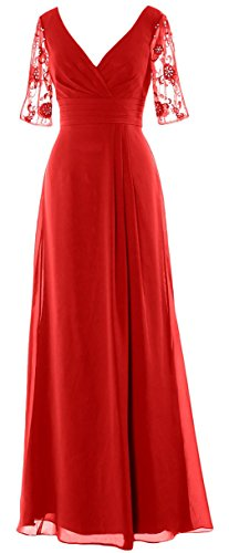 ASBridal Women's Long Chiffon Half Sleeves V Neck Mother of the Bride Dress, Red, US18W Alfred Angelo Mother Of The Bride