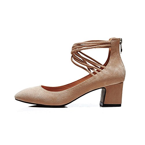 Nine Seven Suede Leather Womens Round Toe Chunky Heel Zipper Handmade Cute Pumps Shoes With Lace Up Apricot cfQ2bT